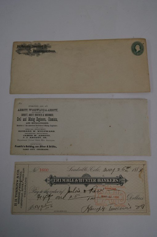 Leadsville Colorado Check and Envelopes