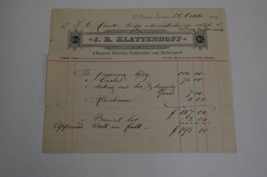 Funeral Fees for Texas Prostitue C 1888
