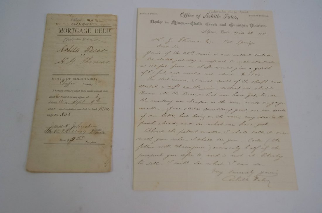 Colorado Mining Letter and Mine Deed (2)