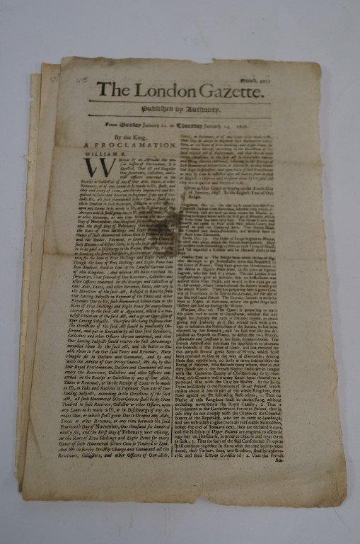 The London Gazette C 1696, 1697 & 1743