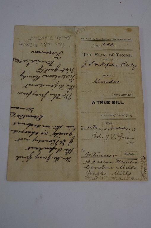 Texas Murder Indictment 1873