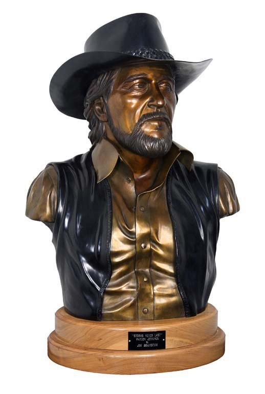 """Storms Never Last,"" Bronze Bust of Waylon Jennings by"