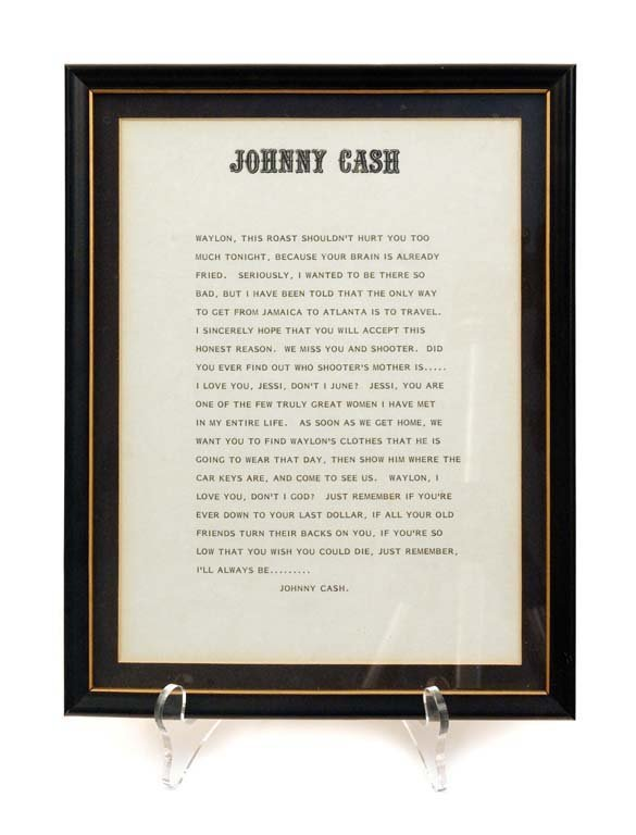 Framed Letter from Johnny Cash to Waylon