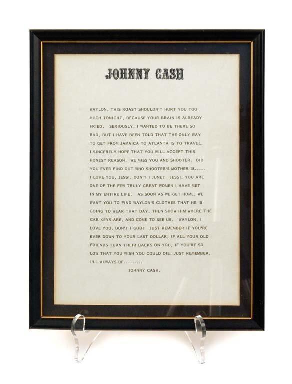 Framed Letter from Johnny Cash to Waylon