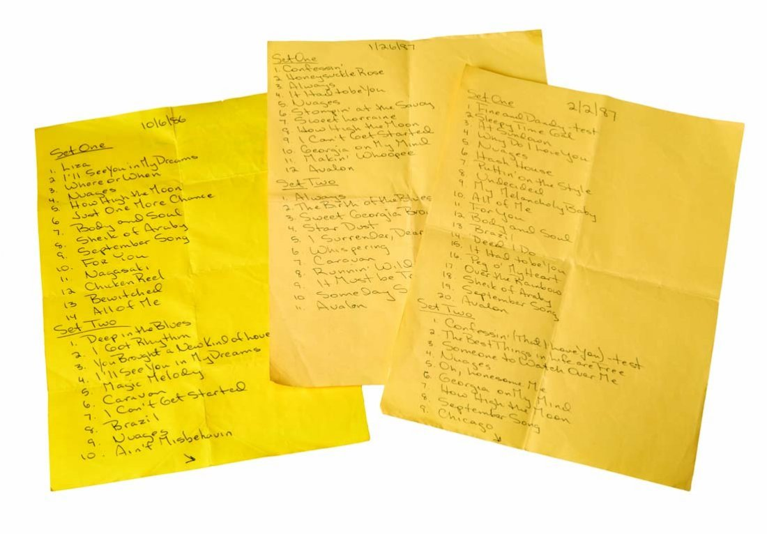 Handwritten Setlists for the Les Paul Trio at Fat