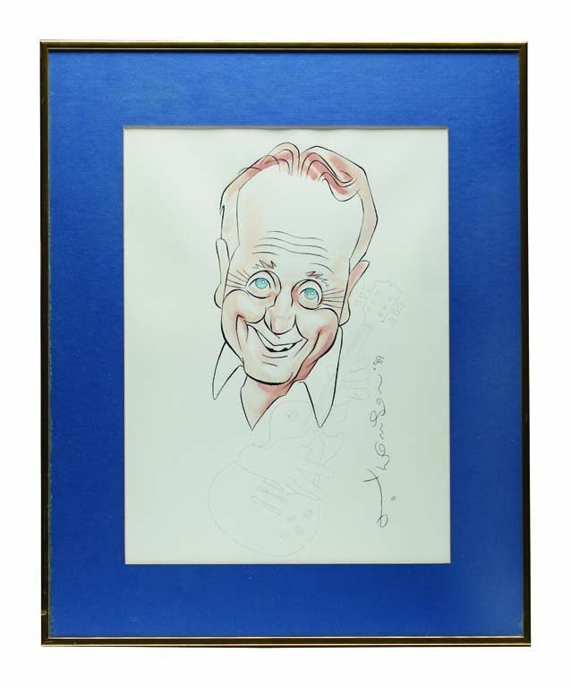 Cartoon Drawing of Les Paul from Fat Tuesday's