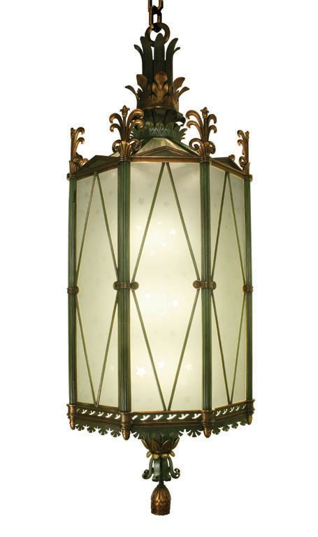 (1) 10 FT. HIGH BRONZE AND BRASS LANTERN ON CHAIN,  C.