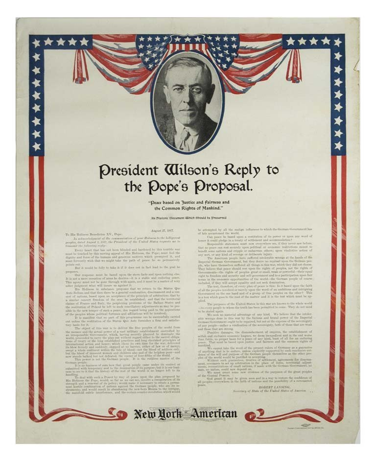 President Wilson's Reply to the Pope's Proposal