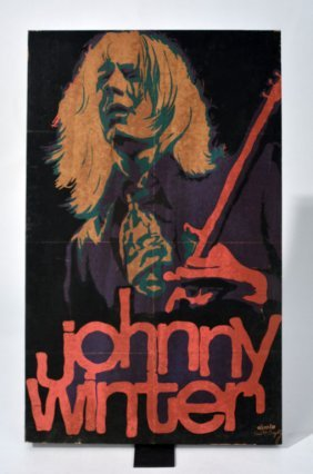 Johnny Winter Colored Wooden Art Block