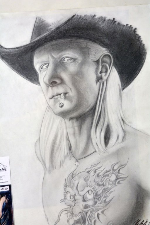 Framed Illustration of Johnny Winter - 2