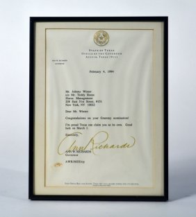 Letter from Governor Ann Richards on the Occasion of