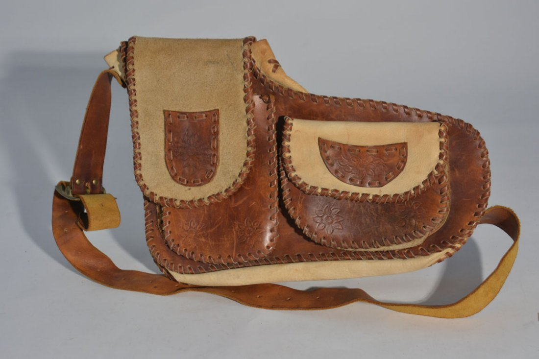 Brown and Cream Leather Satchel