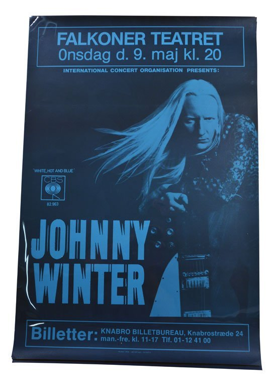 Poster: Johnny Winter at the Falkoner Teatret