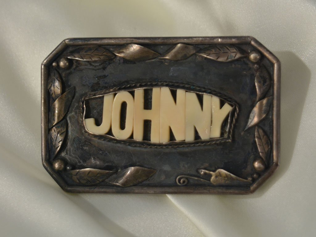"""""""JOHNNY"""" Belt Buckle, A Gift from Bill Graham"""