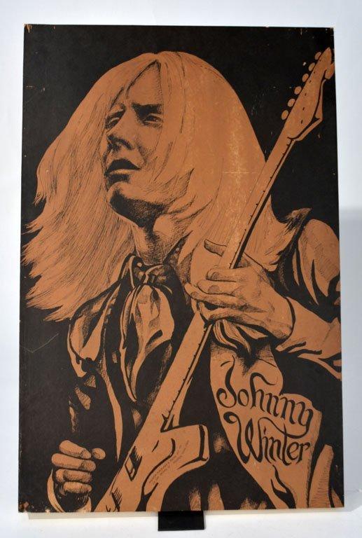 Johnny Winter with Guitar Wooden Art Block