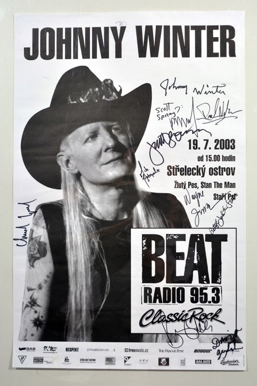 Signed Poster: Johnny Winter, Beat Radio 95.3