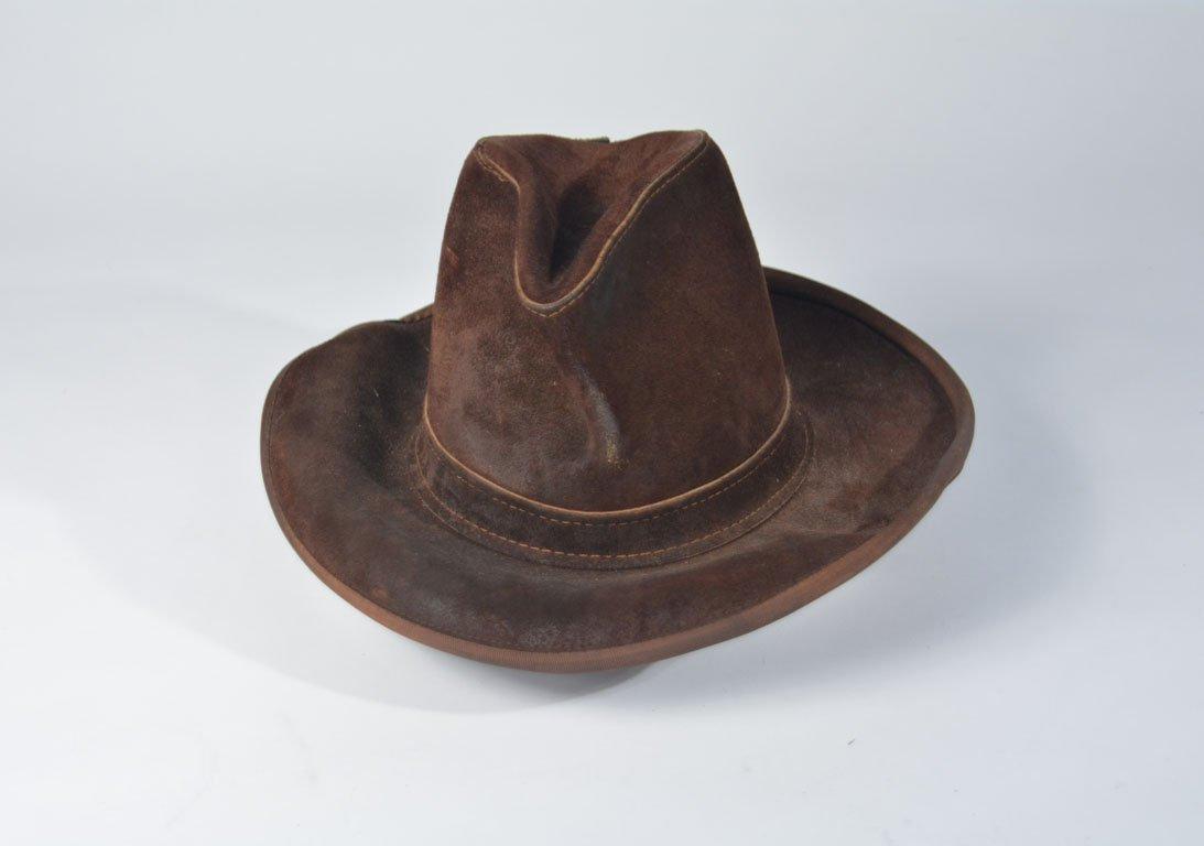 Johnny Winter's Brown Suede Skully Cowboy Hat