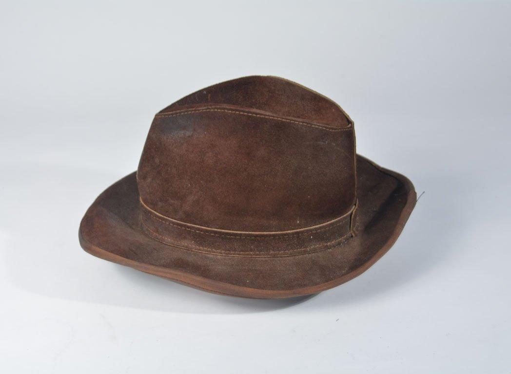Johnny Winter's Brown Suede Skully Cowboy Hat - 2