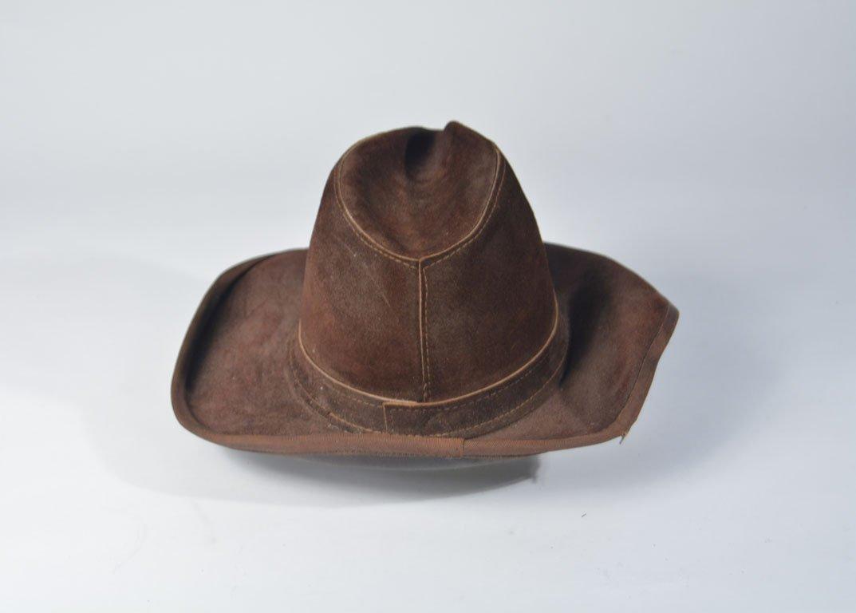 Johnny Winter's Brown Suede Skully Cowboy Hat - 3