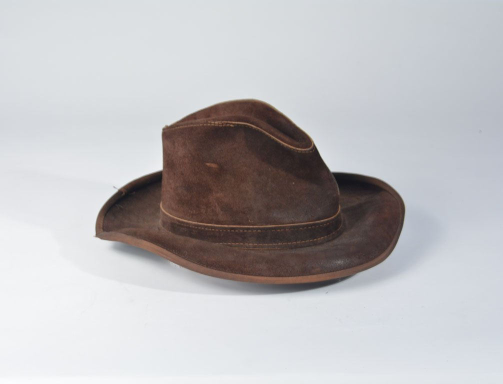 Johnny Winter's Brown Suede Skully Cowboy Hat - 4