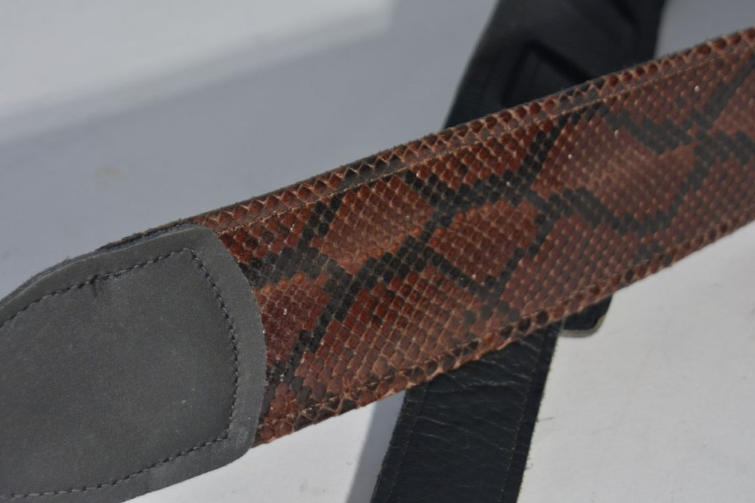Two of Johnny Winter's Guitar Straps: Snakeskin and - 4