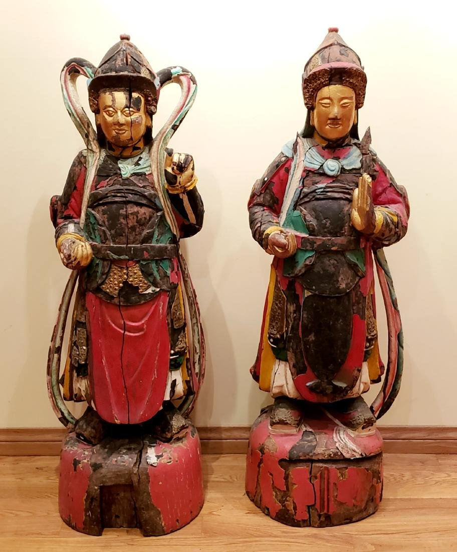 Pair of Magnificent 12th C. Hand Carved Gilt Polychrome - 2