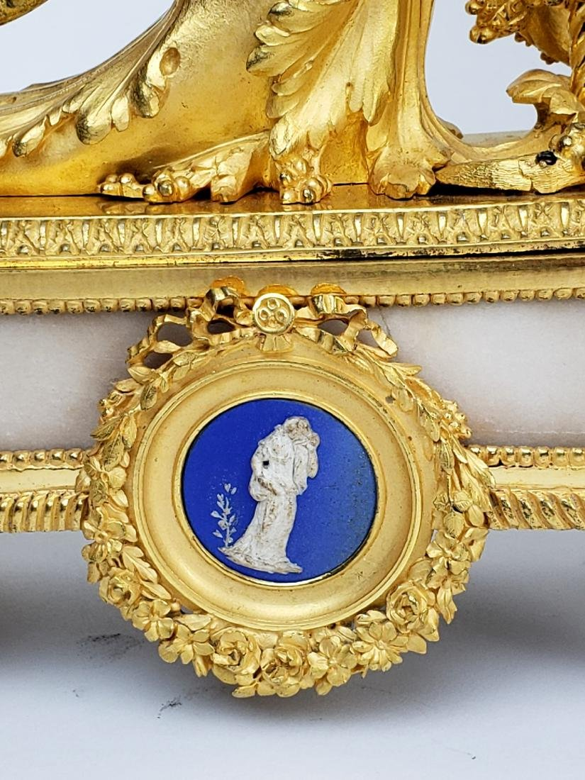 19th C. Beurdeley 3 Pc. Gilt Bronze Mounted Marble - 10