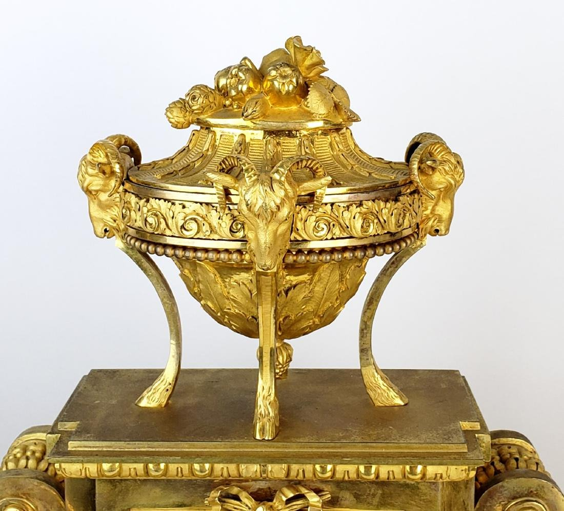 19th C. Beurdeley 3 Pc. Gilt Bronze Mounted Marble - 5