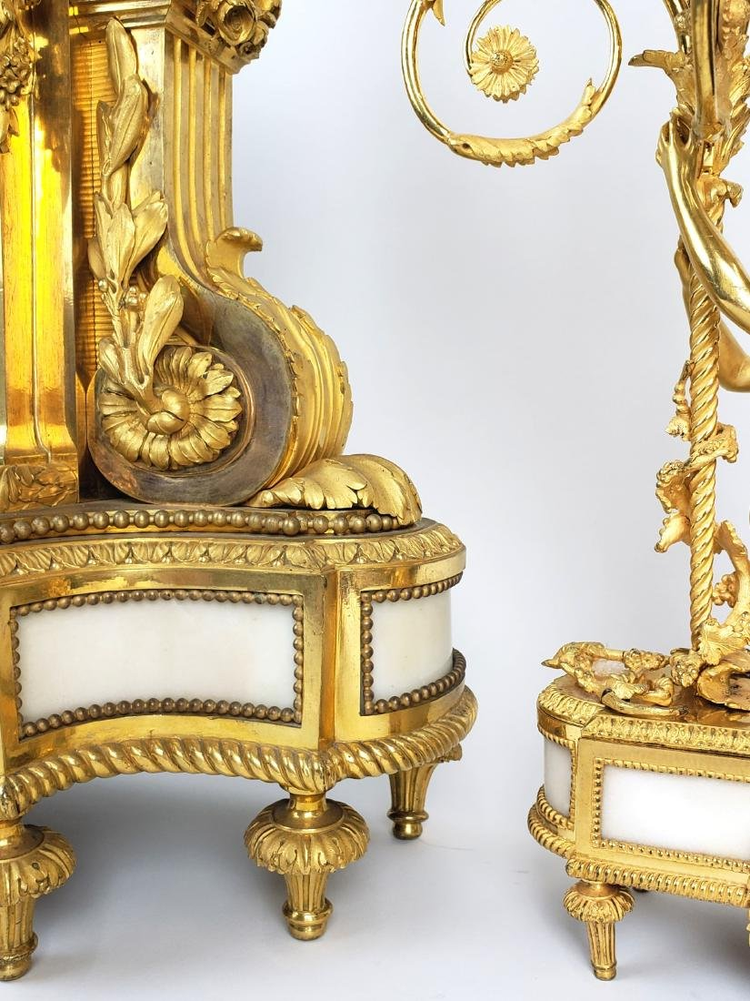 19th C. Beurdeley 3 Pc. Gilt Bronze Mounted Marble - 6