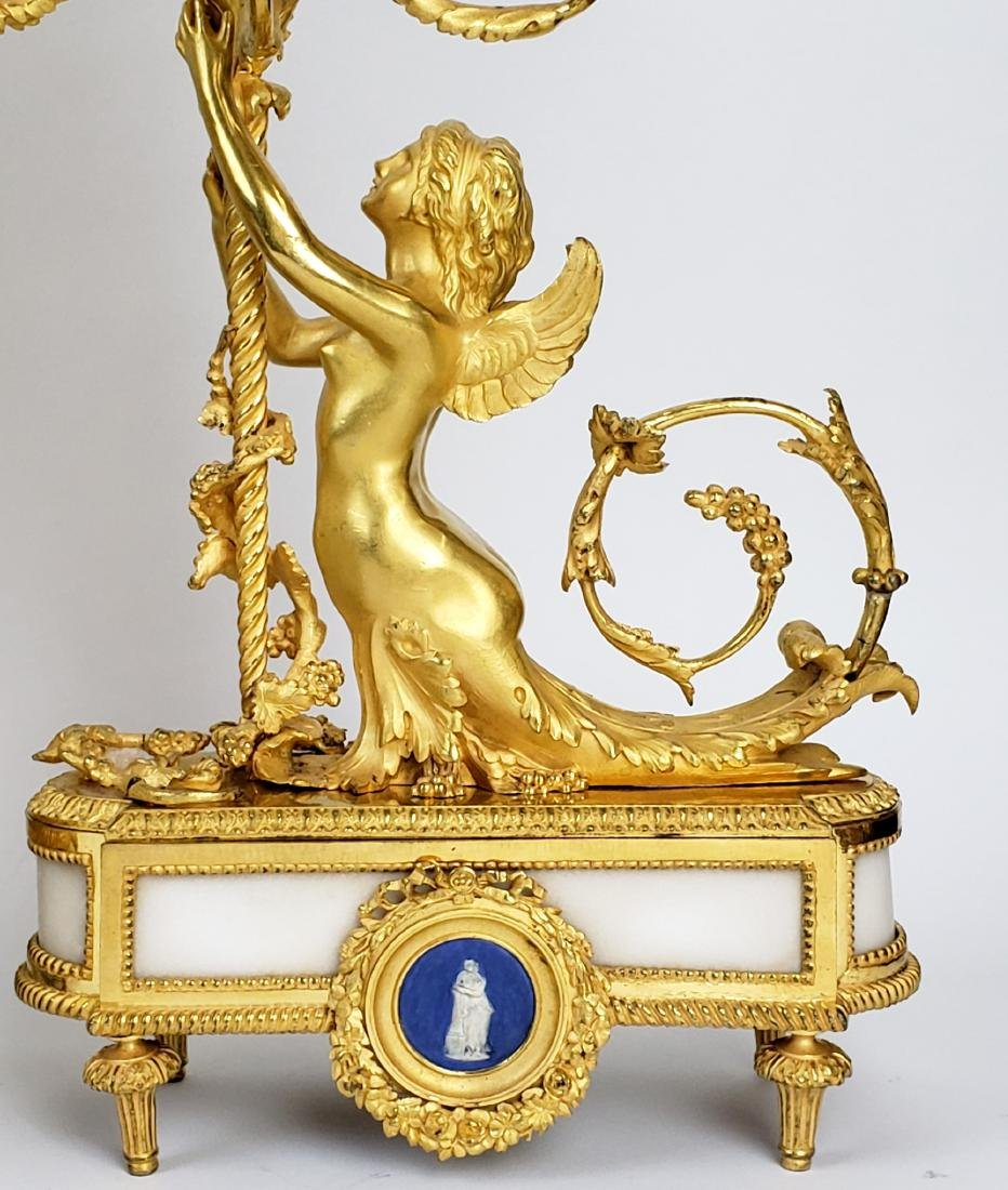 19th C. Beurdeley 3 Pc. Gilt Bronze Mounted Marble - 7