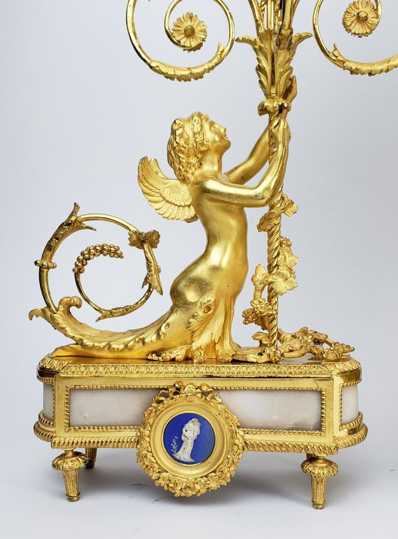 19th C. Beurdeley 3 Pc. Gilt Bronze Mounted Marble - 9