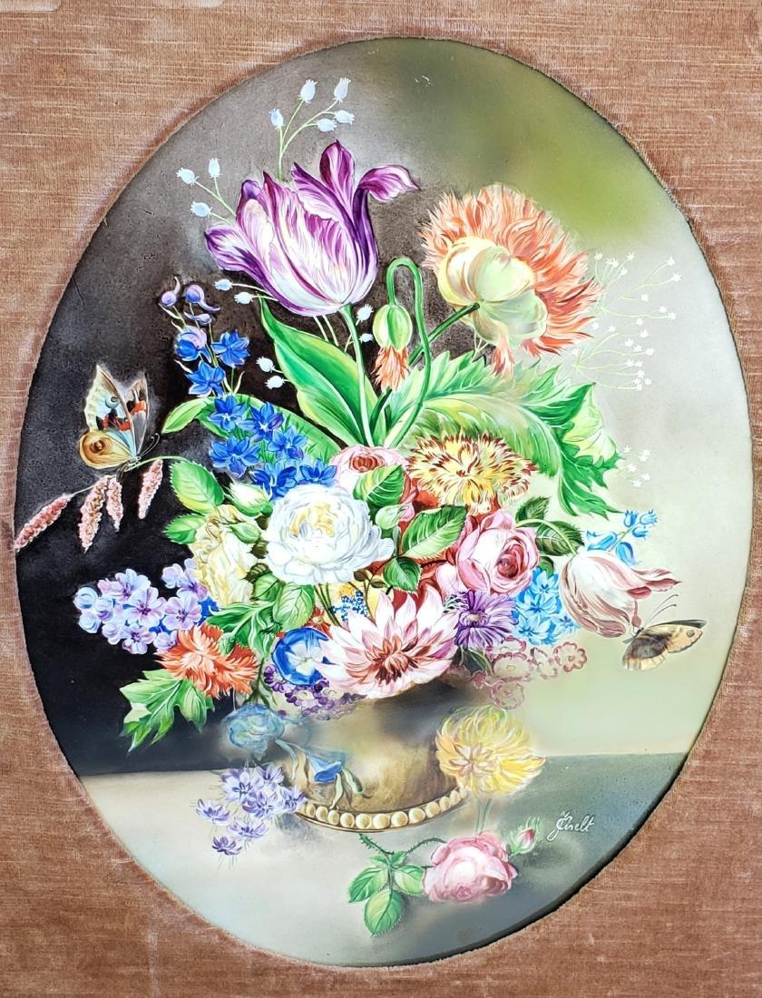Pair of 19th C. KPM Floral Porcelain Plaques Signed J. - 3