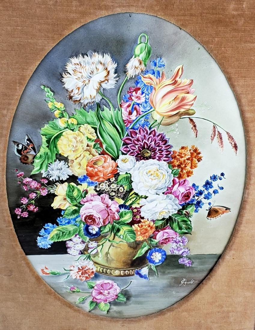 Pair of 19th C. KPM Floral Porcelain Plaques Signed J. - 7