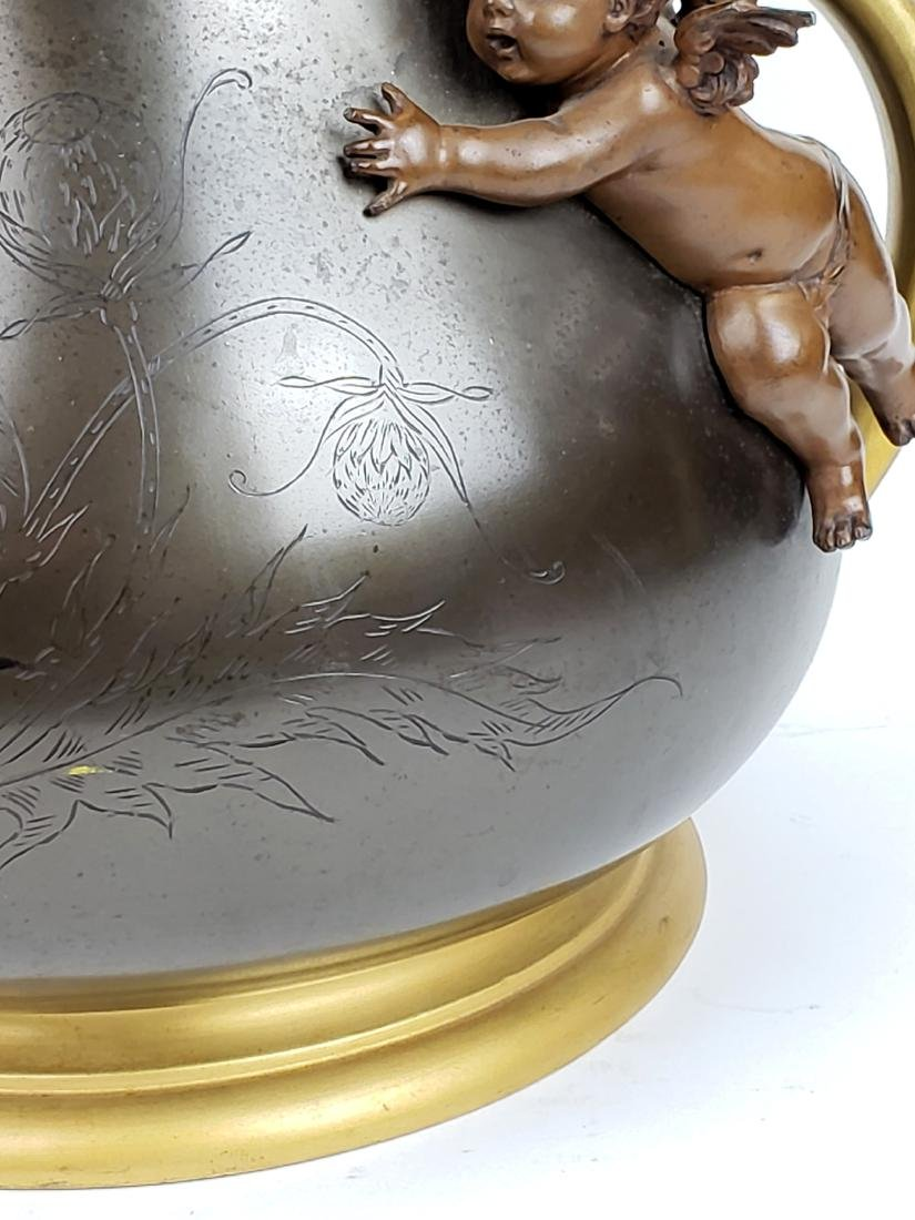 19th C. Patinated & Gilt Spelter Jardiniere with - 3