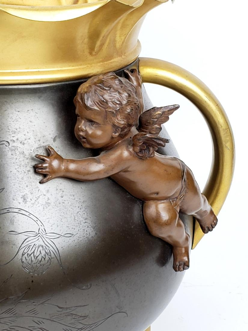 19th C. Patinated & Gilt Spelter Jardiniere with - 4