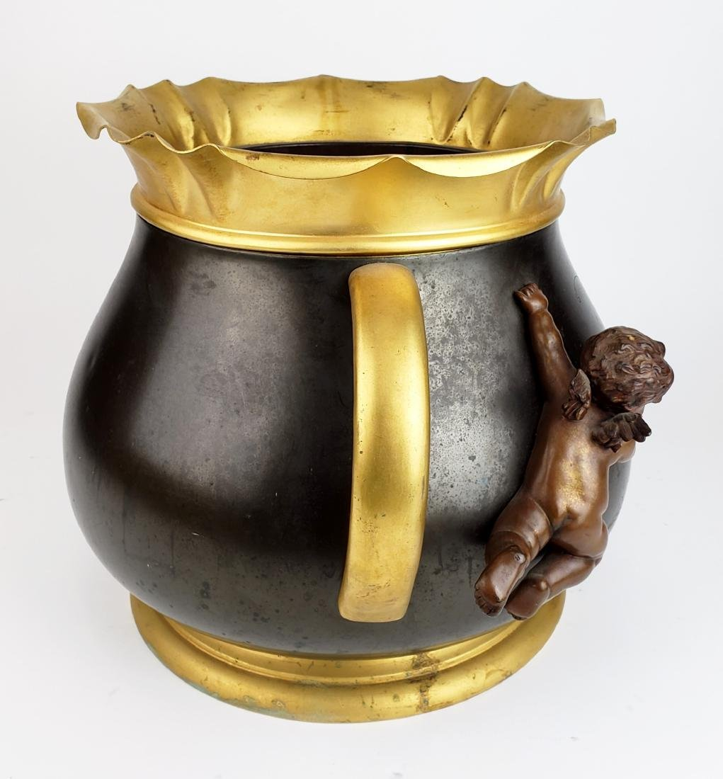 19th C. Patinated & Gilt Spelter Jardiniere with - 5