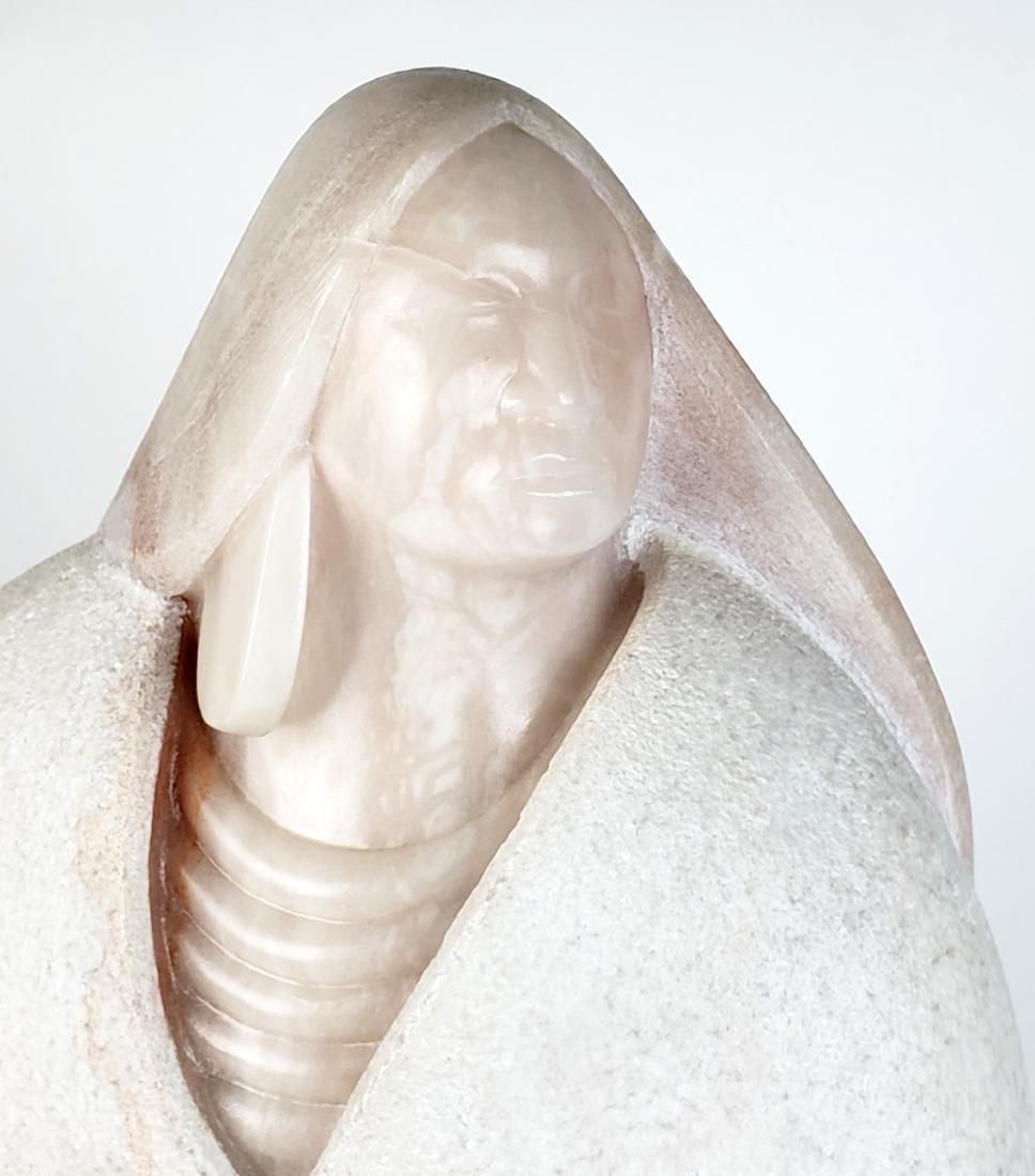Marble Statue of Indian Woman. American, signed Nicola - 5