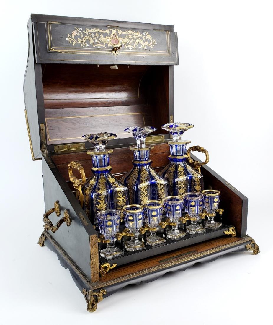 19th C. Bohemian & Boulle Tantalus Drinking Set
