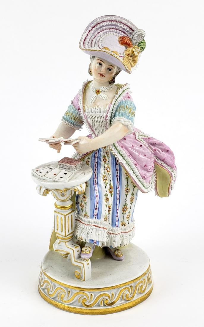 A Rare 19th C. Meissen Porcelain Figure of Woman  with
