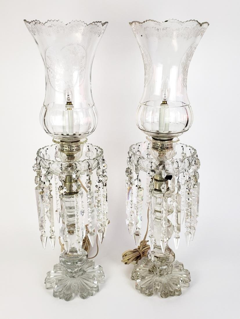 Pair of Large Baccarat Style Crystal Lusters