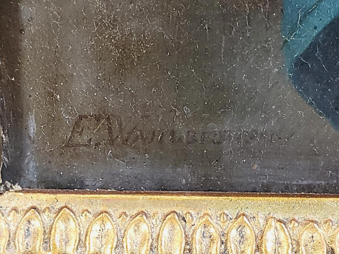 19th C. Oil on Board of Woman Signed - 3