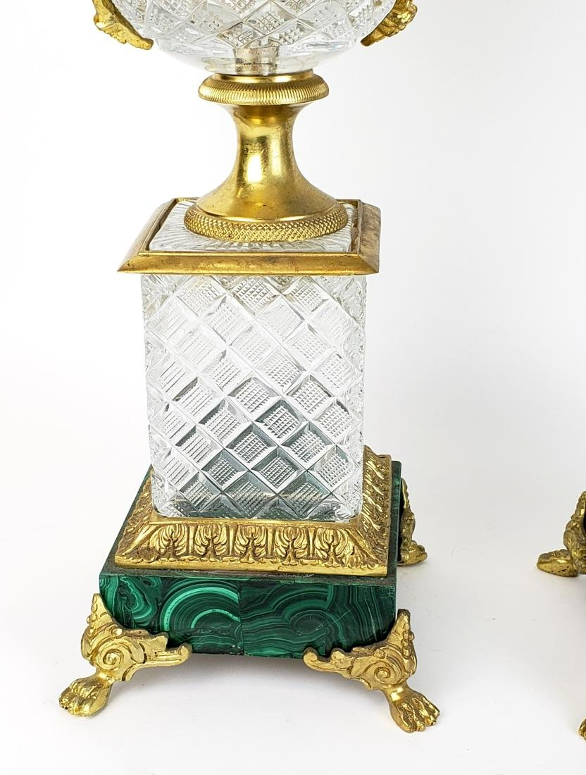 Pair of Large Bronze & Crystal Vases with Malachite - 3