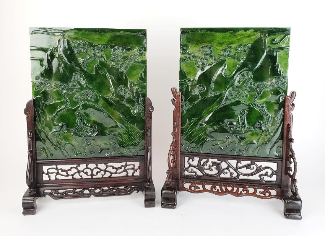 Pair of Chinese Spinach Jade Plaques in Wooden Base