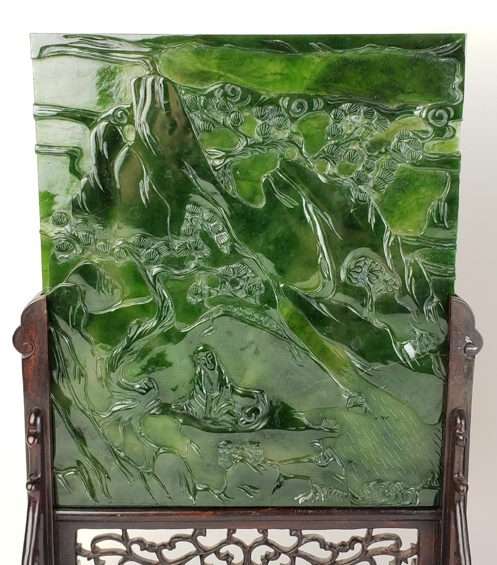 Pair of Chinese Spinach Jade Plaques in Wooden Base - 2