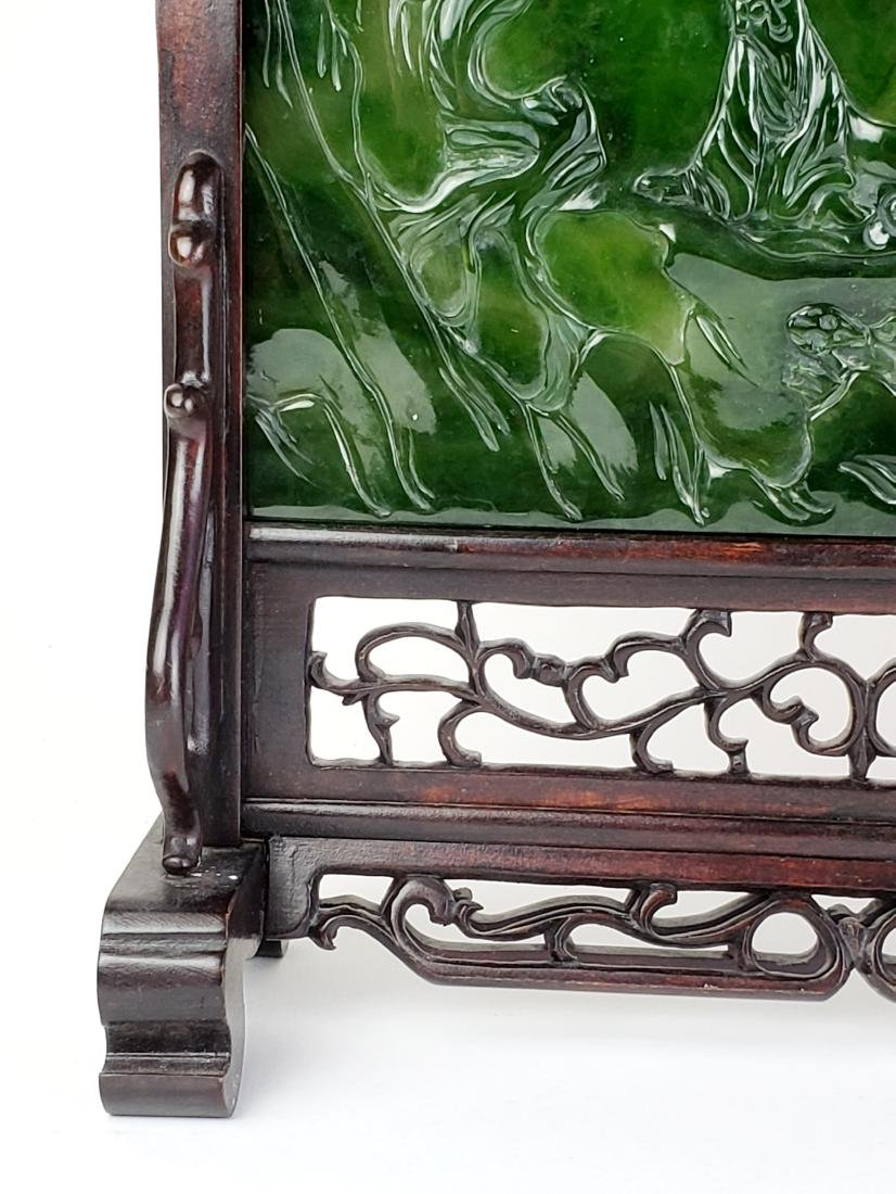 Pair of Chinese Spinach Jade Plaques in Wooden Base - 3