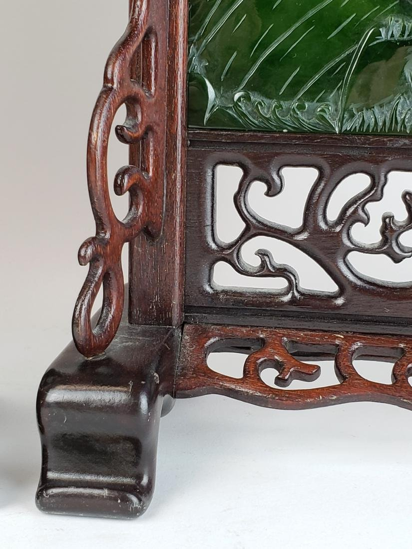 Pair of Chinese Spinach Jade Plaques in Wooden Base - 5