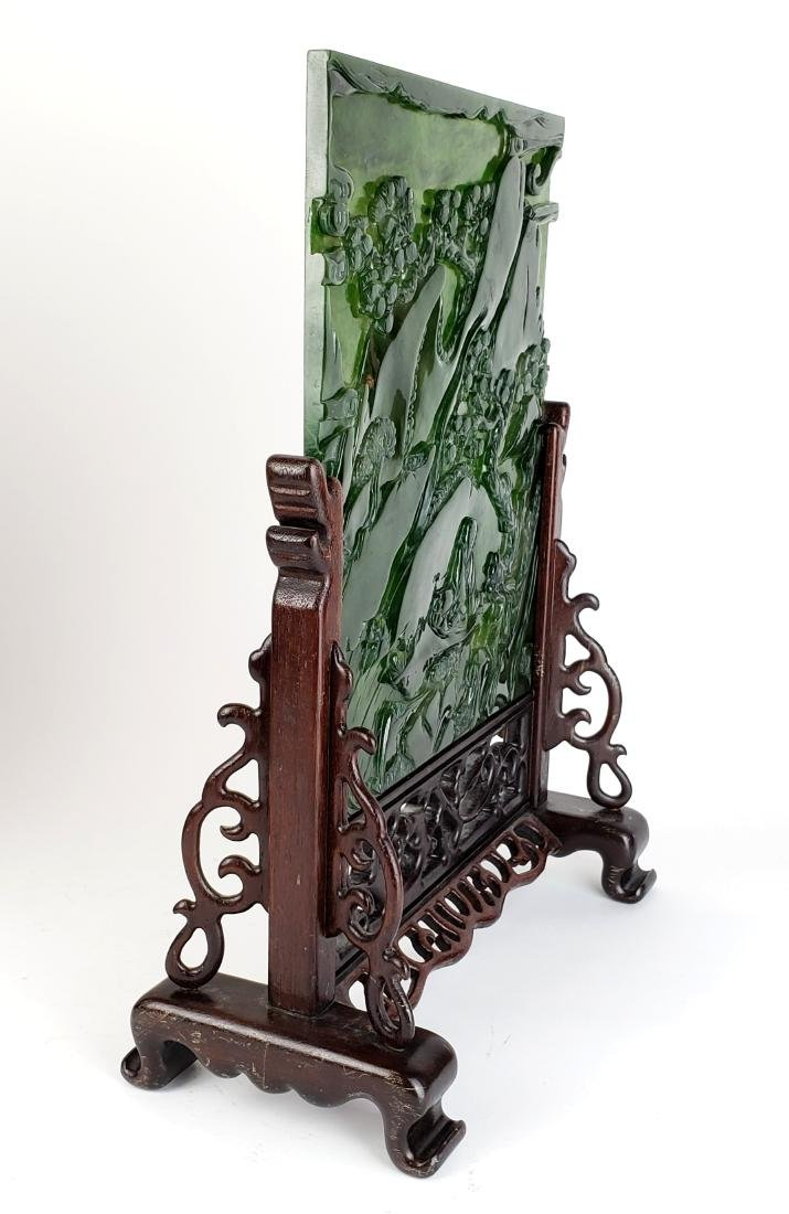 Pair of Chinese Spinach Jade Plaques in Wooden Base - 7