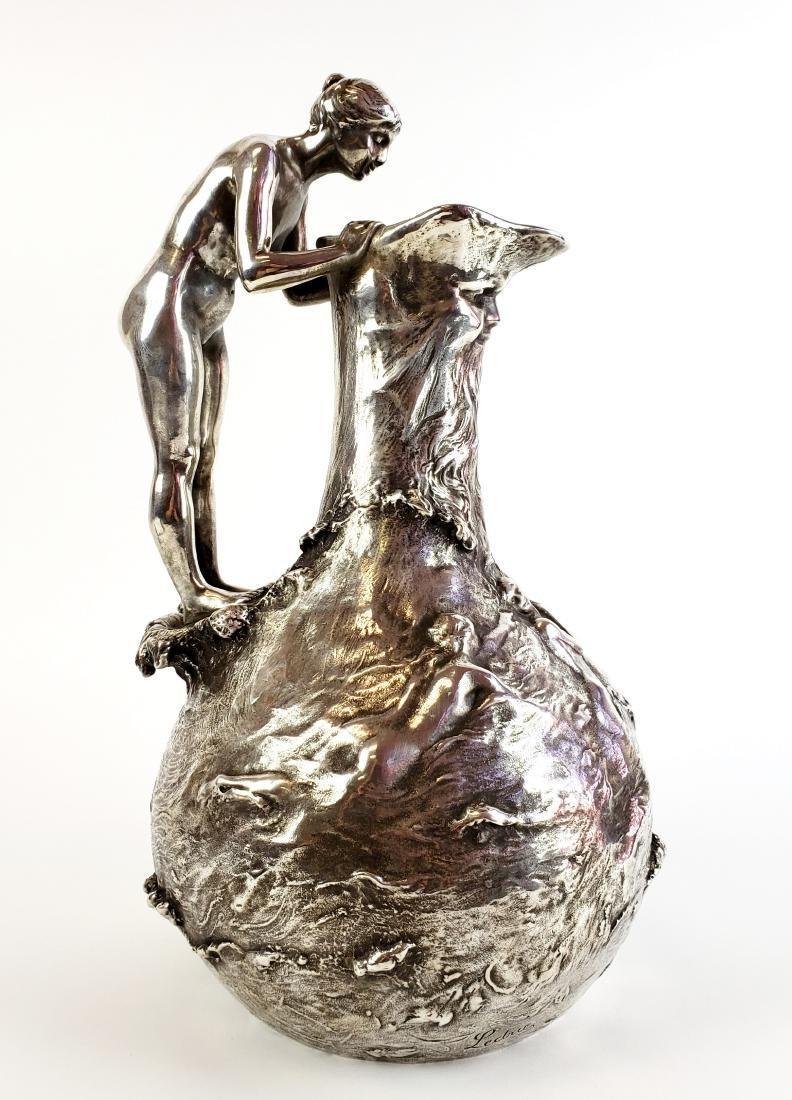 Large Ledru Signed 19th C. Silverpted Figural
