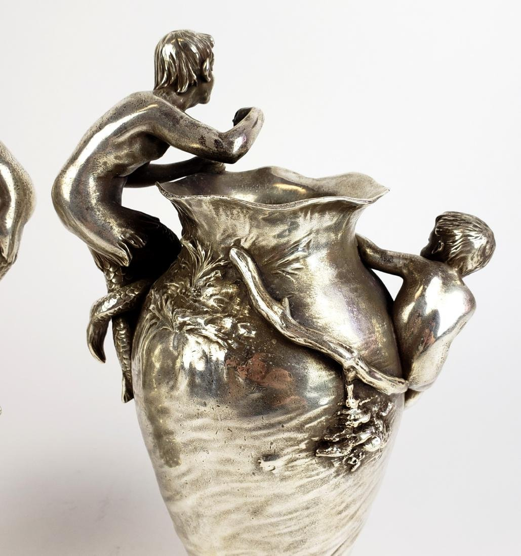 Pair of 19th C. Silverplated Figural Vases - 10