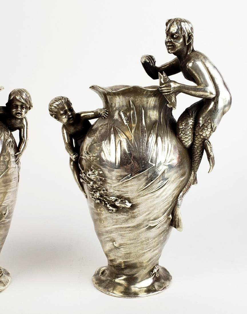 Pair of 19th C. Silverplated Figural Vases - 3